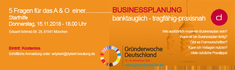 Gründerwoche 2018 – Starthilfe Businessplan